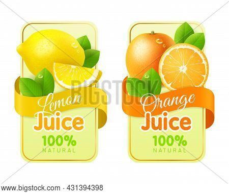 Labels Fruit Realistic. Packaging Stickers With Fresh Realistic Fruits, Juices And Jam Emblems. Orga