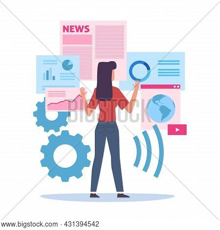 Selection Of Internet Resources. Woman Choosing Websites. Cartoon Female Searching Web Pages. Cute G