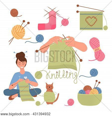 Set Of Knitting Tools. Wool Yarns, Knitting Needles, Basket With Balls Of Threads, Hands With Knitti