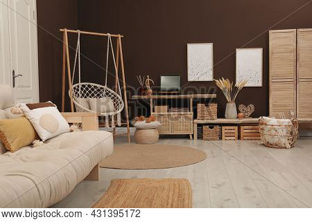 Trendy Boho Style Furniture And Decor In Living Room. Interior Design
