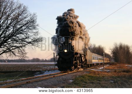 Locomotive At Crossing