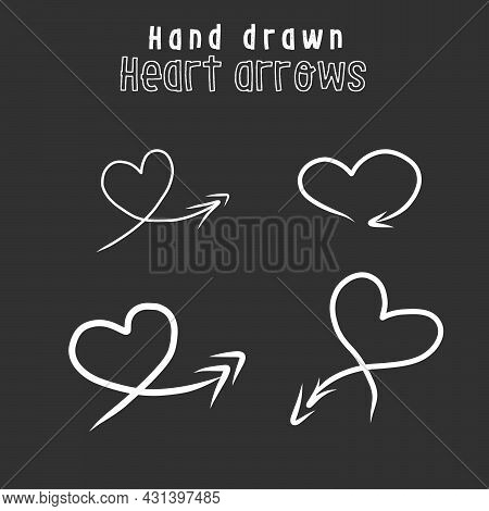 Hand Drawn Arrow In Silhouette Of Heart Set. Stock Vector Illustration Isolated On White Background.