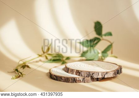 Natural Round Wooden Stand For Presentation And Exhibitions On Pastel Beige Background With Shadow.