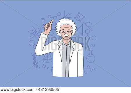 Scientist And Physicist Practitioner Concept. Old Grey Haired Man Scientist Standing Showing Finger