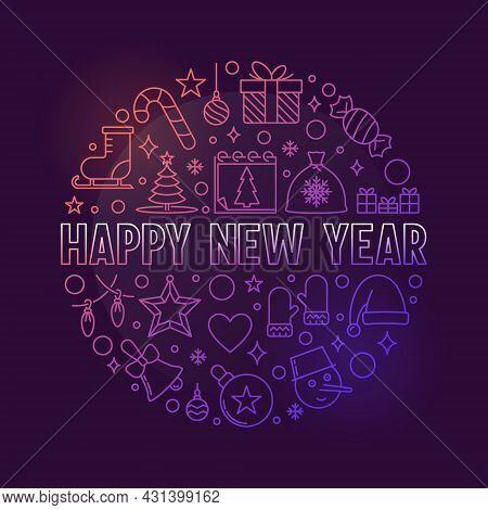 Happy New Year Circular Vector Colored Outline Illustration
