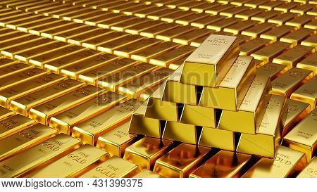 Gold Background In Gold Stockpile, Concept Of Financial And Economic Success Of Gold Trading In Stoc