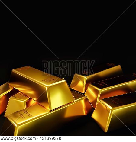 Gold Bar Ingot On A Black Background Financial And Economic Concept Of Gold Trading In The Stock Mar