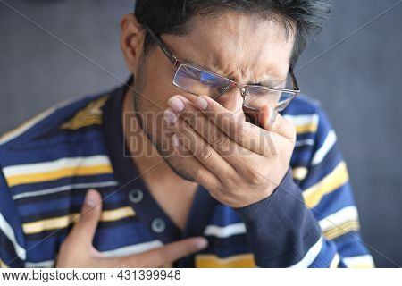 Sick Man Got Flu Allergy Sneezing And Blowing Nose