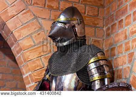 Old Historical Medieval Iron Knight Armor For Ancient Warriors Protection In Combat. Traditional Pas