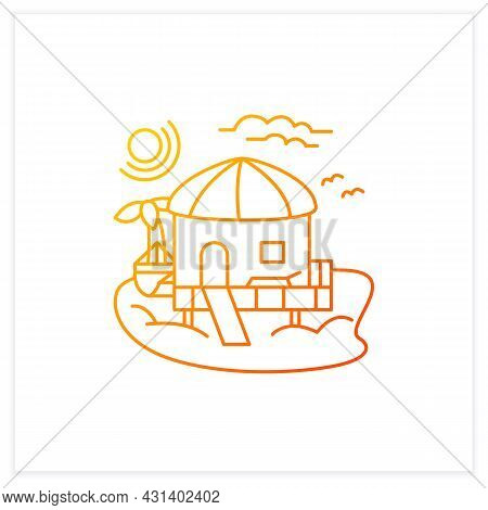 Beach Hut Gradient Icon.tropical Comfortable Bungalow On Beach. Round Roof. Palms, Seascape. Relaxin
