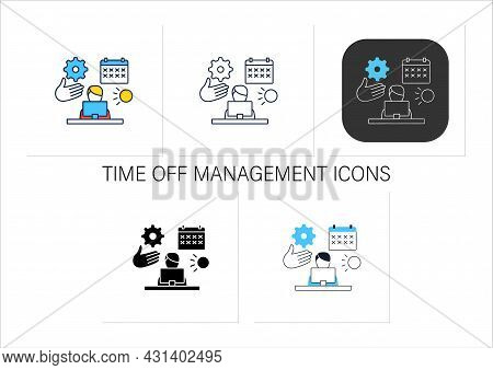 Time Off Management Icons Set.rational Time Distribution.schedule, Calendar. Employee Works On Lapto