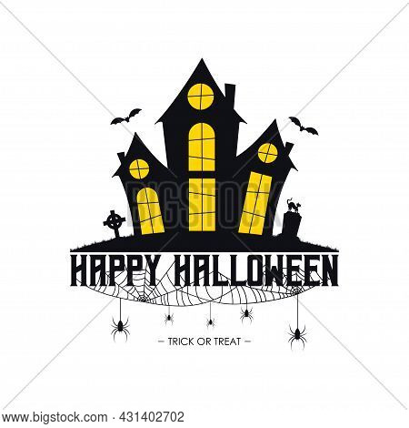 Happy Halloween Banner With Haunted House, Spider Web And Spiders, Gravestone And Tombstone On Grave