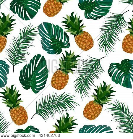 Pineapples And Leaves In A Pattern.pineapples And Palm Leaves On A White Background In A Seamless Pa