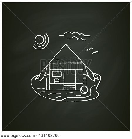 Beach Hut Chalk Icon. Wooden Comfortable House On Beach. Triangle Roof Facade. Seascape. Rest Concep