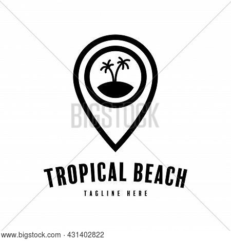 Tropical Island Pointer Logo. Positioning Pin Silhouette Design For Tropical Beach Map, Tropical Bea
