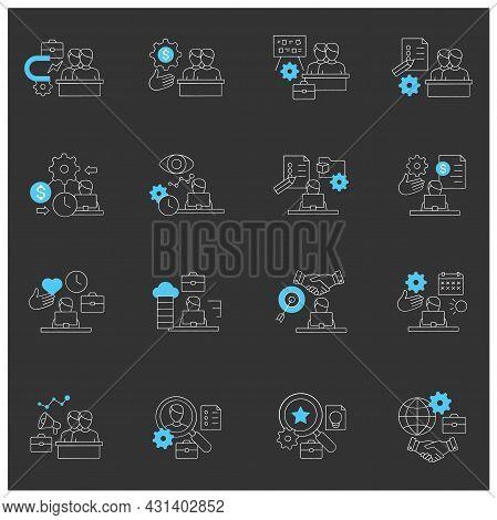 Talent Management Chalk Icons Set.attracting Employees. Recruitment. Talent Development.business Pra