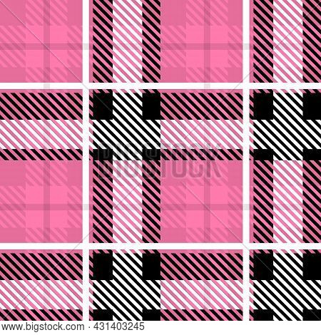 Vector Pink Plaid Check Seamless Pattern In Geometric Abstract Style Can Be Used For Girly Fashion F