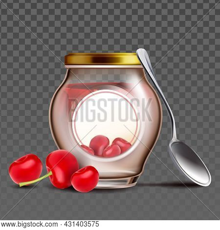 Bottle With Cherry Berries Jam And Spoon Vector. Blank Glass Jar With Vitamin Organic Canned Cherry