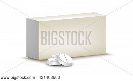 Medical Pharmaceutical Pills Blank Package Vector. Heap Of Drug Medicament Packaging, Disease Treatm