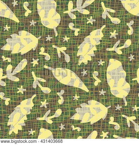 Naive Doodle Leaf Textured Seamless Vector Pattern Background. Backdrop With Yellow Gray Falling Oak