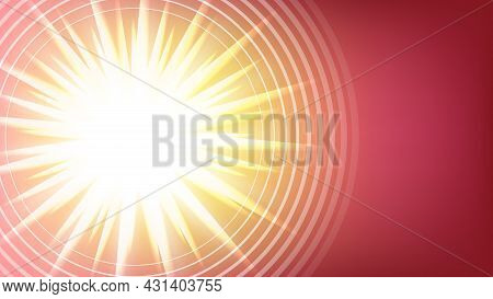 Sun Shining Advertise Banner Copy Space Vector. Light Explosion Or Brightness Sun Shine With Rays Po