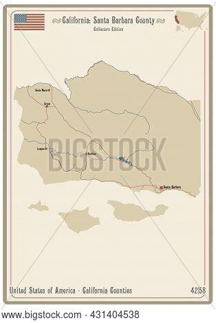 Map On An Old Playing Card Of Santa Barbara County In California, Usa.