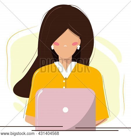 Young Woman Working On Computer, Lap Top. Office, Home Office, Remote Working Concept. Student, Free