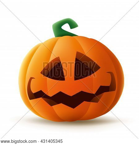 Jack O Lantern. Halloween Pumpkin With Funny Face Expression. Isolated.