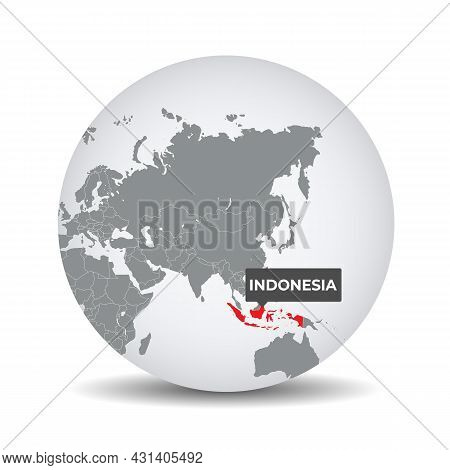World Globe Map With The Identication Of Indonesia. Map Of Indonesia. Indonesia On Grey Political 3d