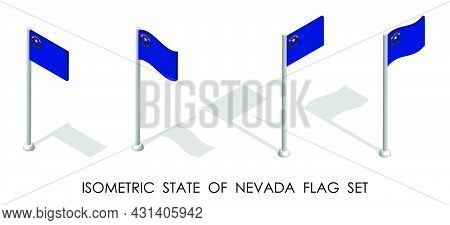 Isometric Flag Of American State Of Nevada In Static Position And In Motion On Flagpole. 3d Vector