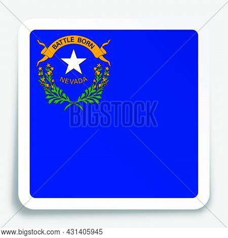American State Of Nevada Flag Icon On Paper Square Sticker With Shadow. Button For Mobile Applicatio