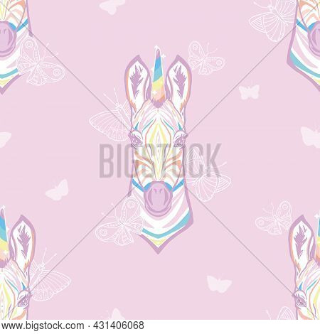 Vector Magical Zebra Unicorn With Butterflies In Pastel Colors Seamless Pattern Background. Perfect