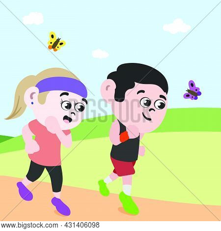 Couple Running In Park To Stay Healthy. Fitness Freak Jogging Girl And Boy. Public Park On Summer Da