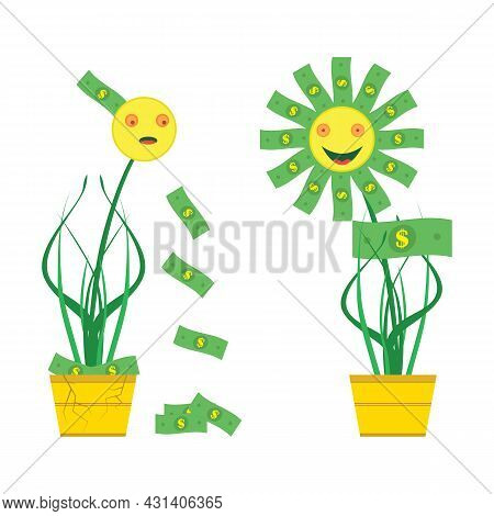 A Beggar And Rich Flowers With Money Grow In Pots. A Poor Flower In A Cracked Pot Loses Money. A Ric
