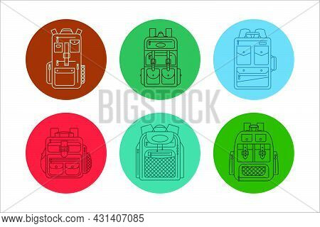 Education And Study Backpack In Set For Students And Traveling Icon. Rucksack Or Schoolbag With Pock