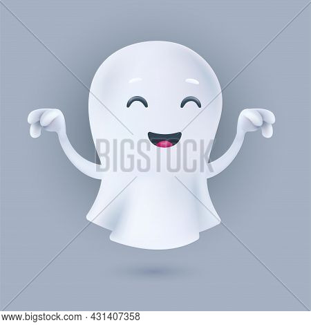 Cute Cartoon Flying Ghost In A Frightening Pose. Friendly Phantom Icon. Smiling 3d Character With Ra