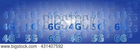 Innovative Blue Banner. Futuristic Abstract Background. High Speed Data 4g 5g 6g. Telecommunication