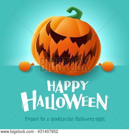 Happy Halloween. 3d Illustration Of Cute Jack O Lantern Orange Pumpkin Character With Big Greeting S