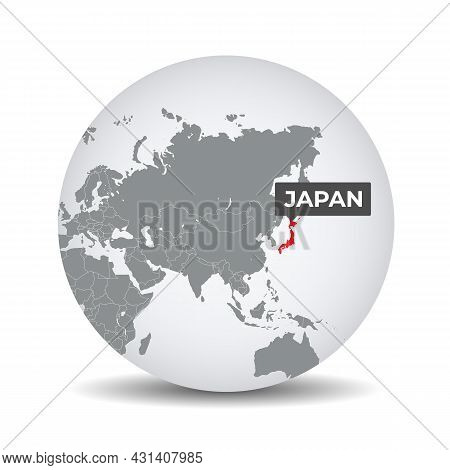 World Globe Map With The Identication Of Japan. Map Of Japan. Japan On Grey Political 3d Globe. Asia