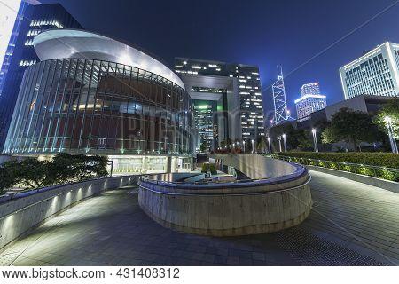 Midtown Of Hong Kong City At Night