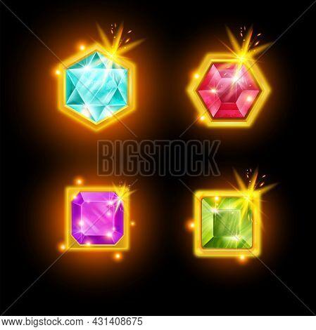 Game Gemstone Vector Icon, Cartoon Ui Diamond Crystal Button, Treasure Jewel Gold Assets Set. User I