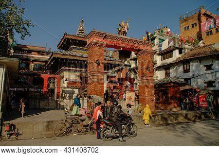 Kathmandu, Nepal -december 28, 2011: View To One Of The Temples In Durbar Square In Kathmandu