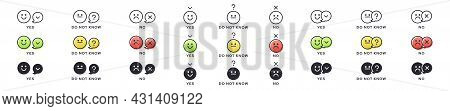 Emotion Icon Pack - Yes, No, Do Not Know. Evaluation Or Rating - Good, Bad, Neutral. Vector Emotiona