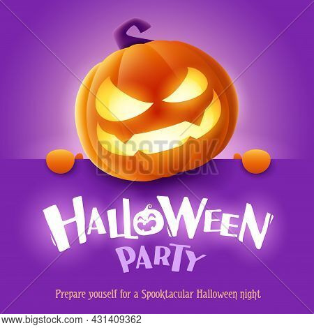 Halloween Party. 3d Illustration Of Cute Glowing Jack O Lantern Orange Pumpkin Character With Big Gr