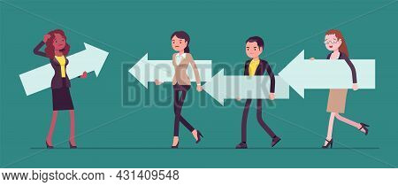 Business People, Majority And Minority In Social Group, Opposite Direction. Woman Thinking To Change