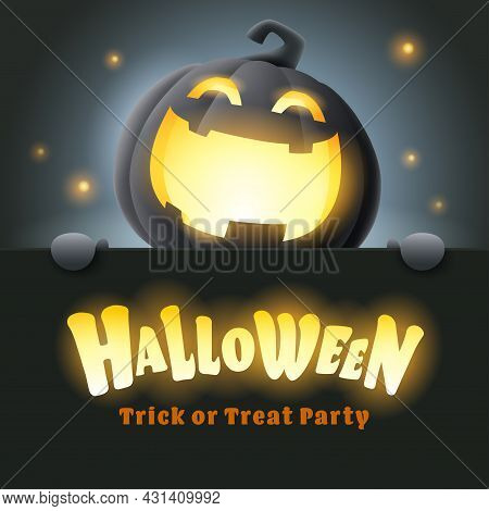 Happy Halloween. 3d Illustration Of Cute Glowing Jack O Lantern Black Pumpkin Character With Big Gre
