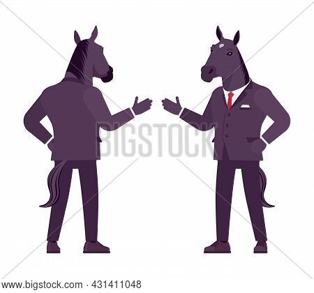 Horse Man, Large Hoofed Male Animal, Formal Human Wear, Greeting. Business Person In Dark Strict Sui