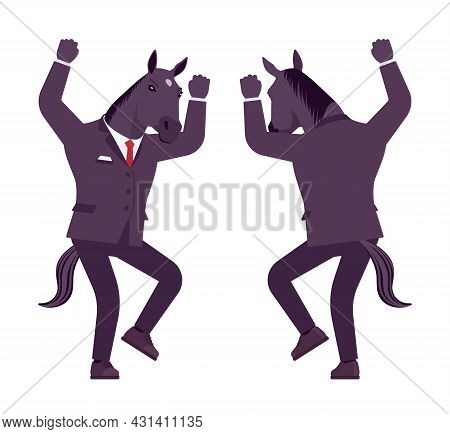 Horse Man, Large Hoofed Male Animal, Formal Human Wear, Mad. Business Person In Dark Strict Suit, St