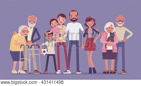 Multigenerational Family, Household, Happy Living Together In Support And Care. Three Generation Por