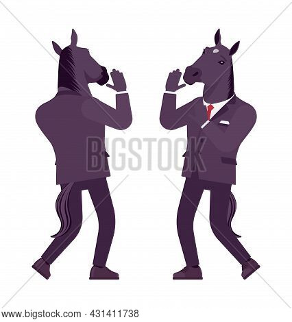 Horse Man, Large Hoofed Male Animal, Formal Human Wear, Scared. Business Person In Dark Strict Suit,